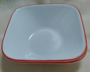 Corelle-Square-Cereal-Soup-Bowls-Red-Rim-034-Splendor-034-Two-2-6-1-4-034