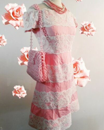 Vintage 80s  Scaasi Boutique Sax Fifth Ave Pink& … - image 1