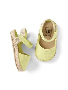 9025e8c4cfd GAP Baby Girls Size 0-3 Months Yellow Eyelet Espadrilles Sandals ...