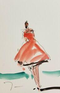 JOSE-TRUJILLO-ORIGINAL-Watercolor-Painting-ABSTRACT-ART-6X9-034-Fashion-Girl-Dress