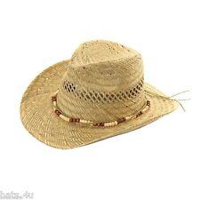 UNISEX STRAW COWBOY HAT BEAD DESIGN BAND S M L XL XXL NEW