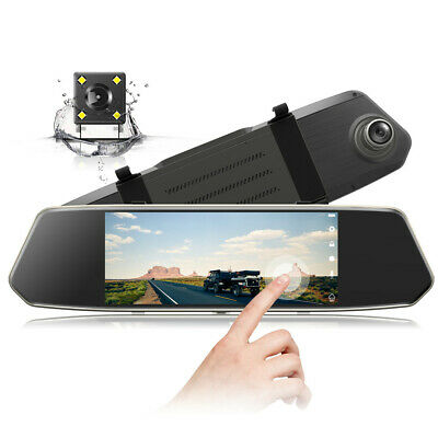 "TOGUARD Mirror Dual Lens Dash Cam 7"" Touch Screen 1080P Rear View Car DVR Camera"