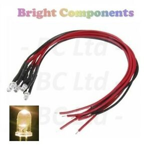 20-x-Pre-Wired-Warm-White-LED-3mm-Ultra-Bright-9V-12V-1st-CLASS-POST