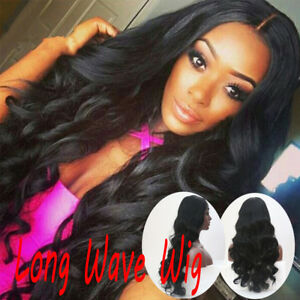 Black-Curly-Wavy-Brazilian-Remy-Synthetic-Hair-Body-Wave-Front-Hair-Wigs