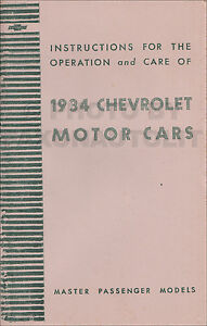 Details about 1934 Chevy Master Car Owners Manual 34 includes Sedan  Delivery User Instructions