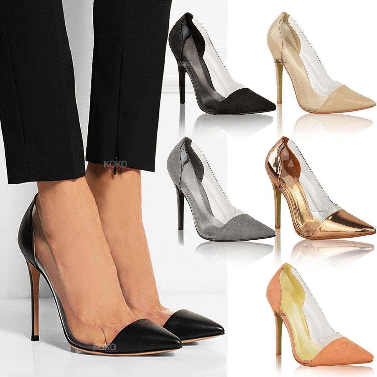 Moda jest prosta i niedroga Womens Ladies Perspex Clear Stiletto High Heel Sandals Party Slip On Courts Size