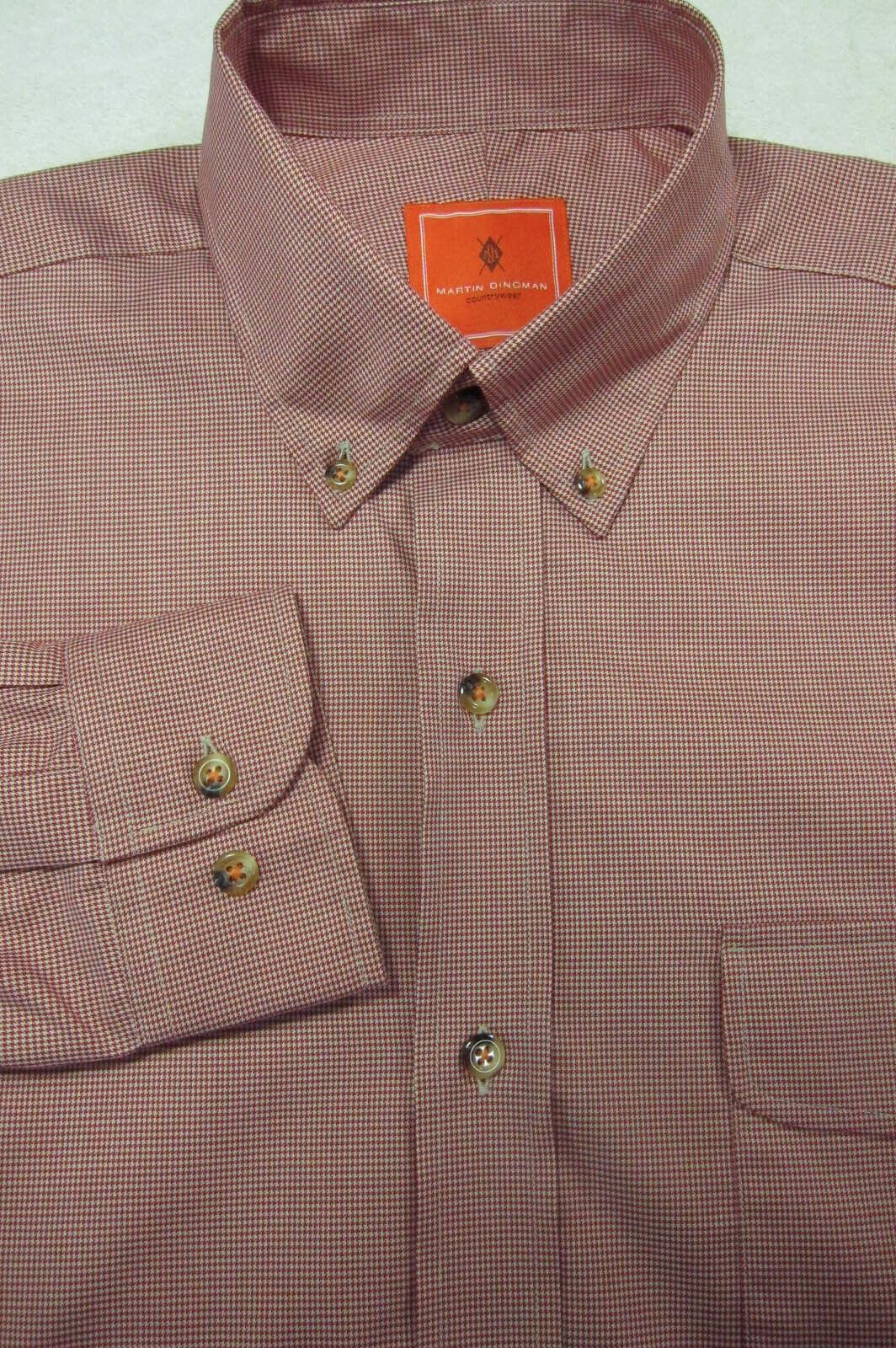 Nuevo Martin Dingman Rojo Diseño & 039;Pata de Gallo&  039; con Botón Camisa L 16.5x35  comprar marca