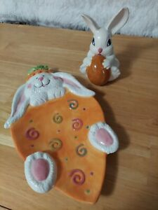 Vintage Ceramic Easter Bunny Rabbit on Carrot Tray & Bunny