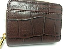 Fossil Womens Wallet Croco Jori Brown Bifold Leather Zip Flip RFID Alligator