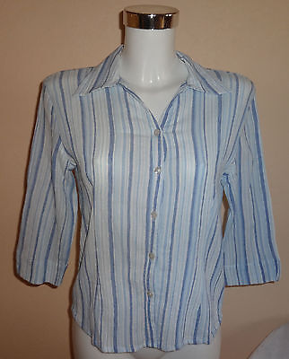 Damen Bluse Crinkle Crash Blau Weiß Streifen 3/4 Arm Multiblu Shirt 38 Baumwolle