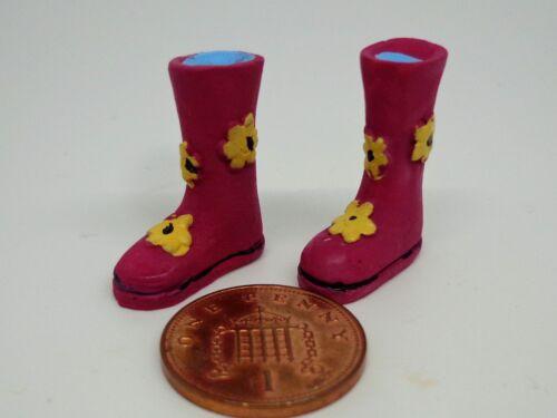Dolls House Miniature Wellington Boots PINK Flowers Wellies