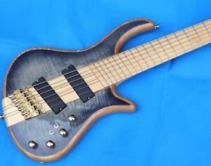 6 Strings Electric Bass Guitar Fan Fretted Elm Body Light Blue Ebay