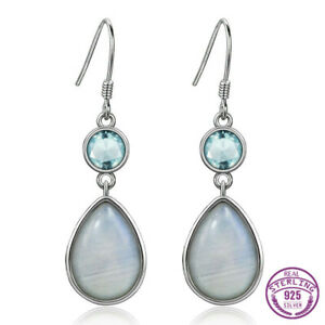 Details About 925 Silver Oval Aquamarine Pear Natural Moonstone Jewelry Hook Earring Whole