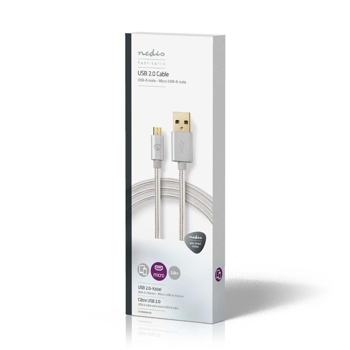 Nedis USB 2.0 Cable A Male to Micro B Male 2m Aluminium CCTB60500AL20