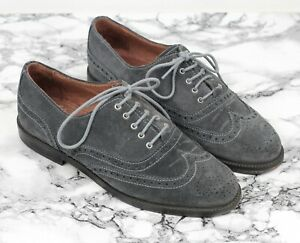 RUSSELL-amp-BROMLEY-Grey-Suede-Leather-JEEVES-Brogues-Loafers-Size-UK-4-EU-37