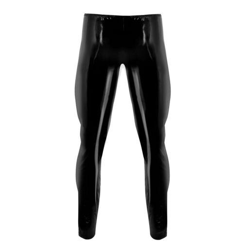 Men PU Leather Leggings Wet Look Skinny Pouch Pants Long Trousers Clubwear Tight