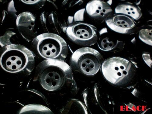 Grandes 25mm Noir Chunky qualité Taille 40L 4 Trou Boutons de différentes tailles de conditionnement BB32