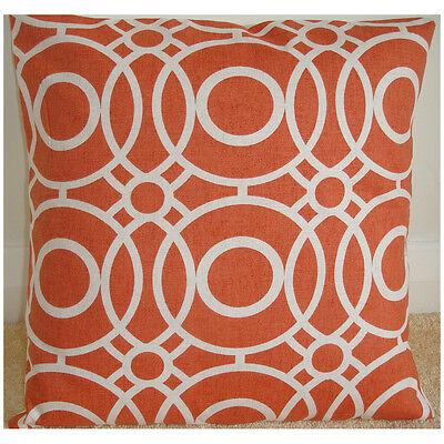 "NEW 16"" Cushion Cover ★ Orange Ivory Cream Circle Funky Retro ★ Geometric"