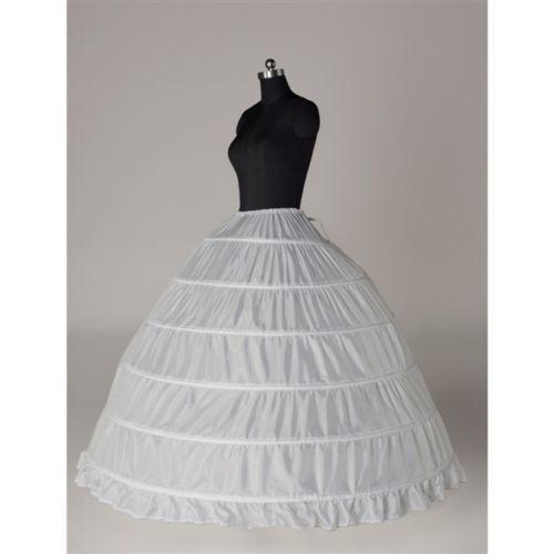 New White 6-Hoop Petticoat Crinoline Underskirt Slip Bridal Dress Gown