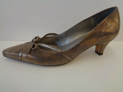 Heeled Frankie Leather Van Ladies Slip Bronze pewter On Multi Met Bronze Shoes Dal Liz pewter q8wHWawT
