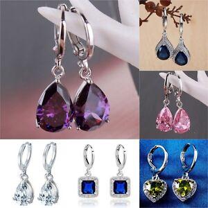 Women-039-s-Fashion-925-Sterling-Silver-Ear-Stud-Dangle-Hoop-Party-Gamstone-Earrings