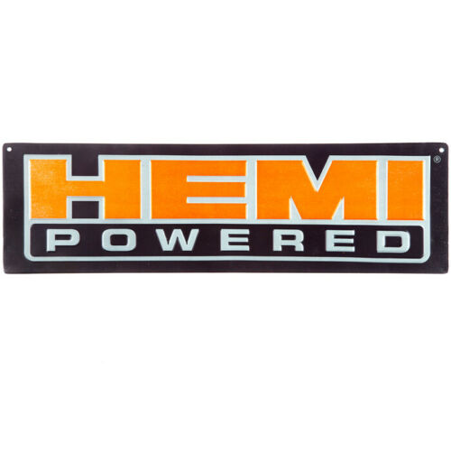 Hemi Powered Metal Embossed Sign Vintage Look Mancave Garage 18 x 5.3
