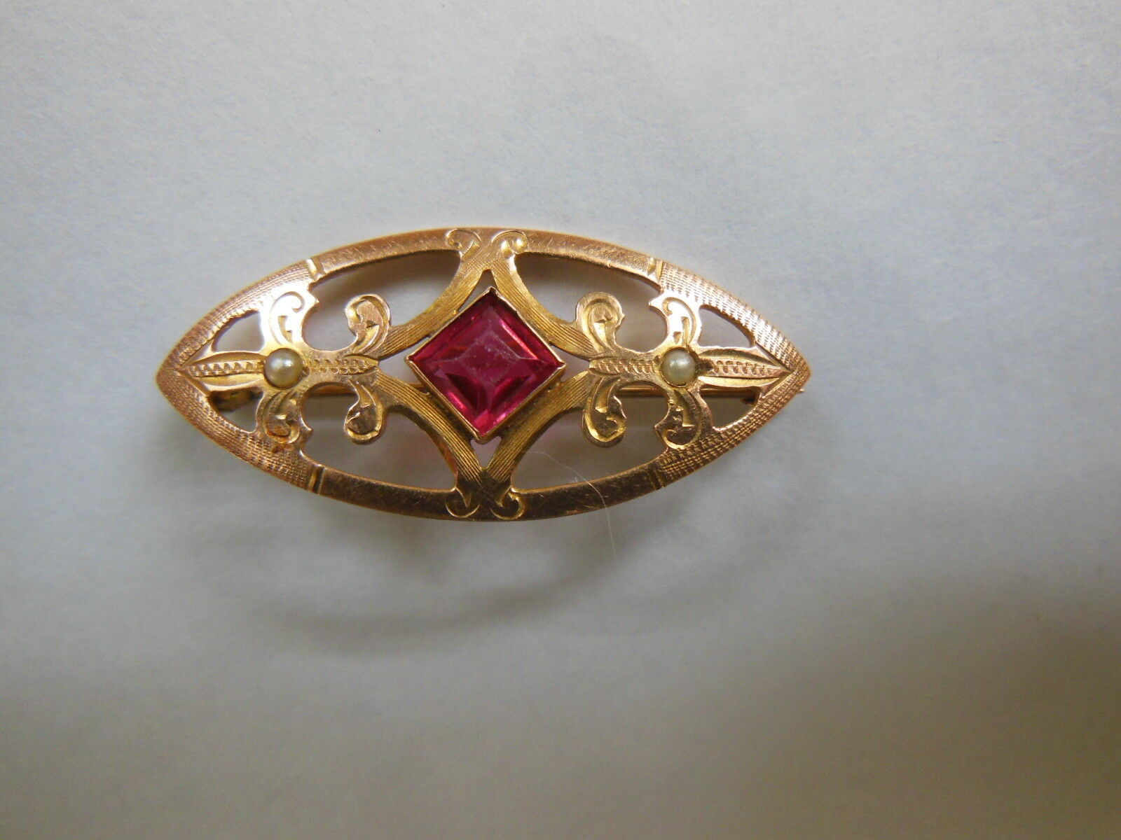 Antique Estate Art Nouveau Deco 14k gold Ruby & Seed Pearl Brooch Pin