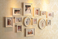 Fa 13pcs Wall Hanging Art Home Decor Decorative Sandwich Photo Frame Wooden Set