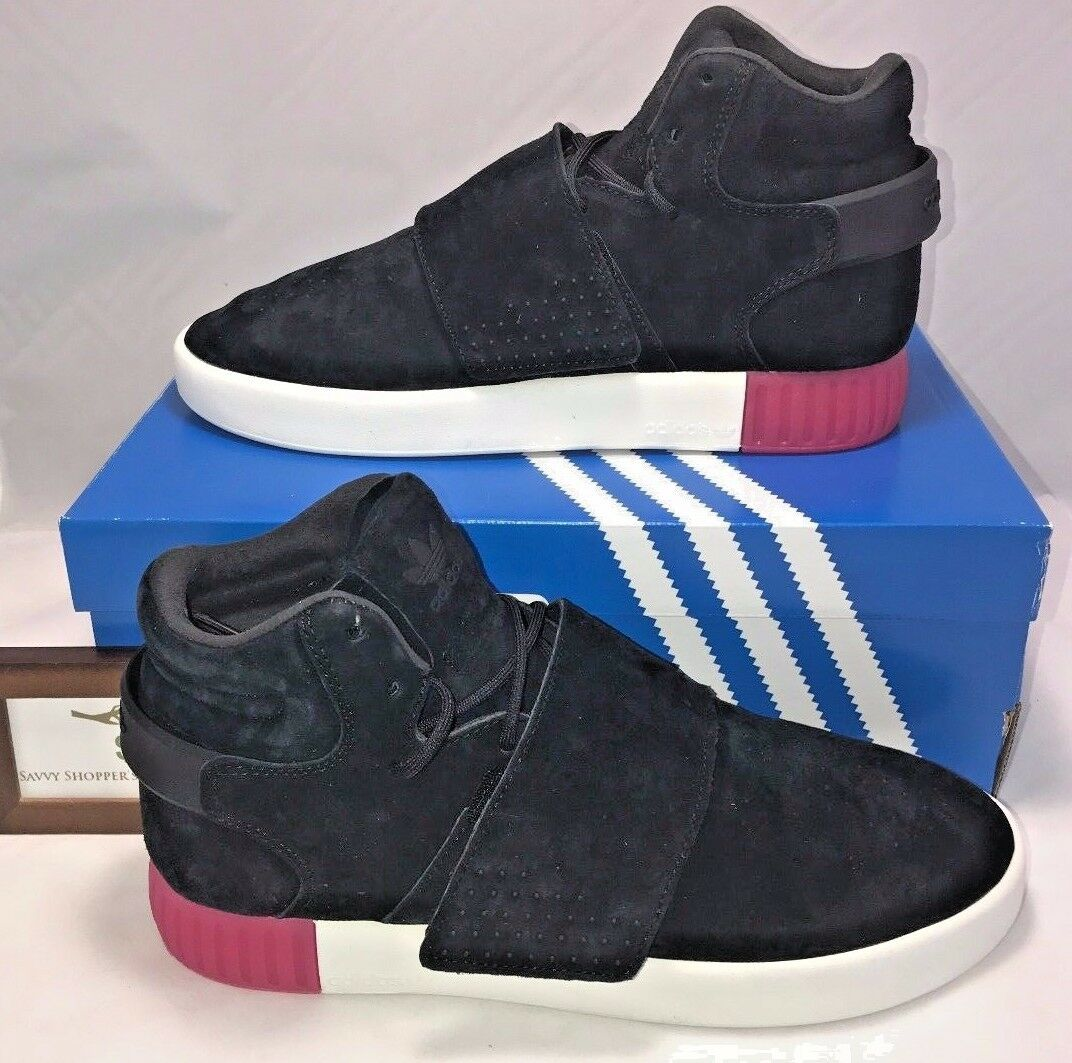 ADIDAS ORIGINALS WOMENS SIZE 10 TUBULAR INVADER STRAP BLACK LEATHER SHOES PINK