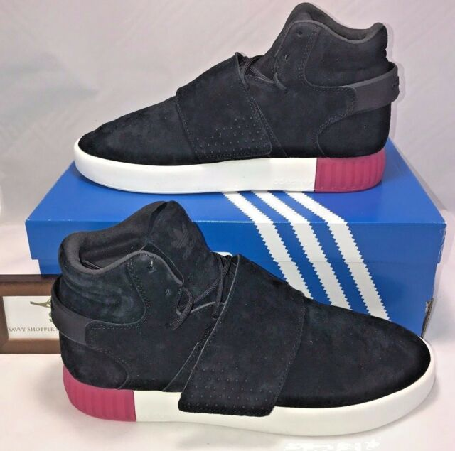 10459b32c02 Adidas Originals Womens Size 9 Tubular Invader Strap Black Leather Shoes  Pink