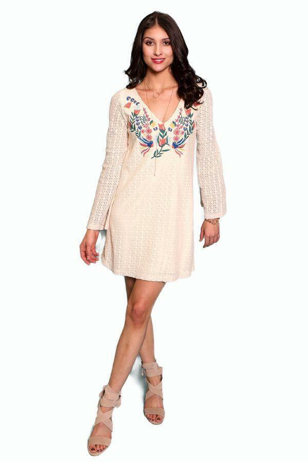 Momma Tried  by Judith March Weiß crochet dress with embroidery - Large