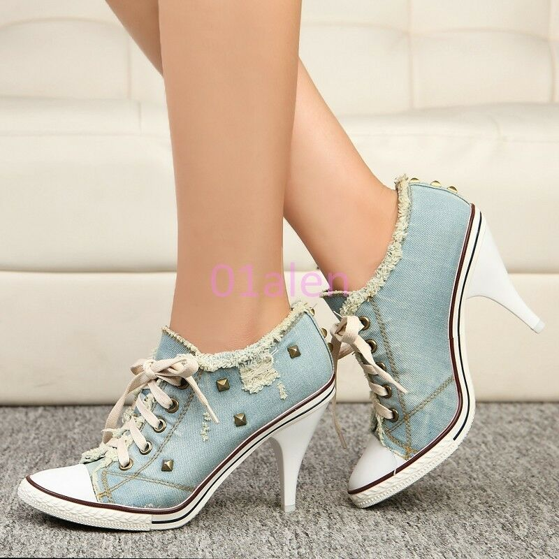 femmes Vogue High Heel Rivet Denim Canvas Lace Up Casual chaussures Western Style Hot