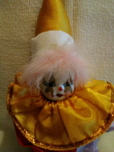 Vintage Irene/'s Collectible. Porcelain Face Clown with Satin Outfit