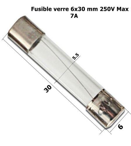 calibre 7A  .D4 fusible verre rapide universel cylindrique 6x30mm 250V Max