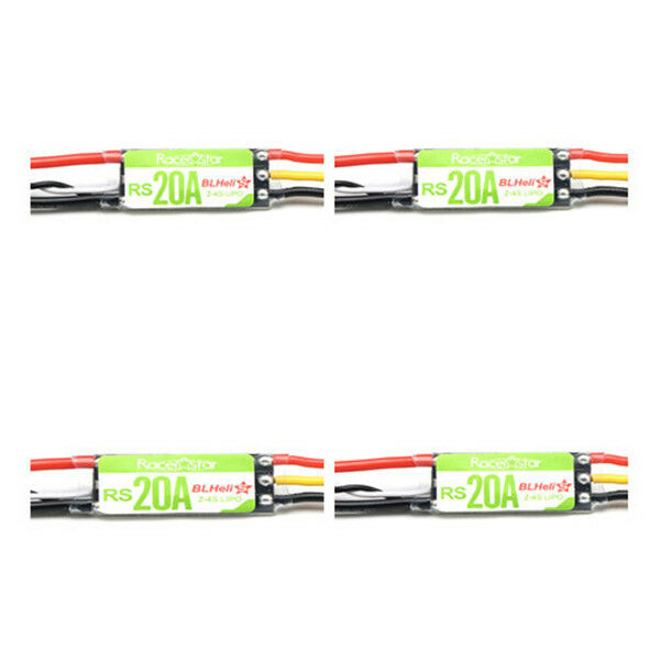 4X Racerstar RS20A 20A BLHELI_S OPTO 2-4S ESC Support Oneshot42 Multishot