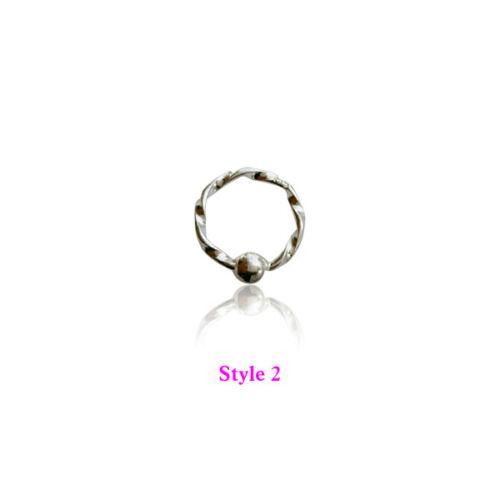 925Surgical silvar Ring Hoop Captive Bead Nose Lip Ear Eyebrow ring Tragus Daith