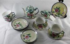 Vtg Childrens Tea Set Floral Luster Japan Tea Pot Plate Cup Sugar Bowl 16 Pc