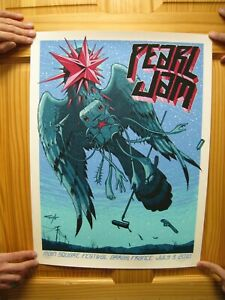 Pearl-Jam-Poster-Mint-Signed-and-Numbered-Silk-Screen-Arras-France