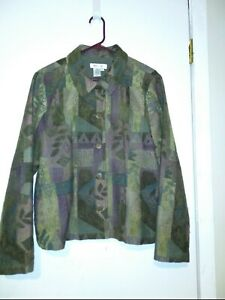 Coldwater-Creek-Tapestry-Print-Jacket-Womens-M-Multi-Brown-Green-Button-Front