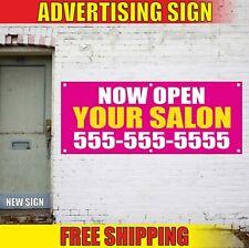 Now Open Banner Advertising Vinyl Sign Flag Custom Salon Barber Shop Spa Nails