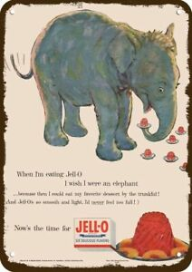1954 JELLO Vintage Look REPLICA METAL SIGN - ELEPHANT LOVES TO EAT JELL-O