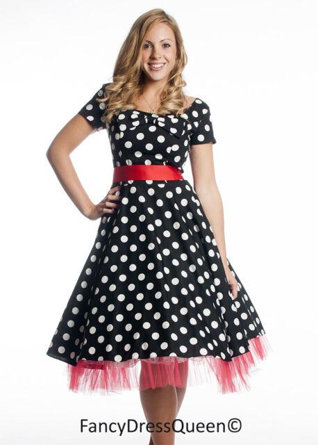 50's Black Red Polka Dot Cap Sleeve Rockabilly Swing Party Dress UK Sizes 8-24