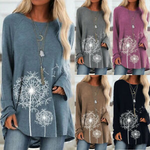 Pullover-Blouse-Long-Sleeve-Floral-Womens-Casual-Loose-Tunic-Tops-T-shirt-Jumper