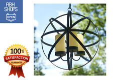 Metal Sphere Chandelier Pillar Led Light Candle Holder Outdoor Patio Decor Black