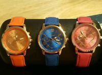 Geneva Platinum Watchs Sapphire Blue Or Fuchsia Pink Fits 7 To 9 Inch