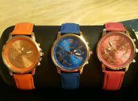 Geneva Platinum Watchs Sapphire Blue Or Fuchsia Pink Fits 7 To 9 Inch