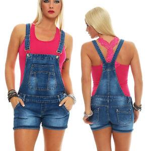10973 damen latzhose hotpants jeans shorts kurze hose. Black Bedroom Furniture Sets. Home Design Ideas