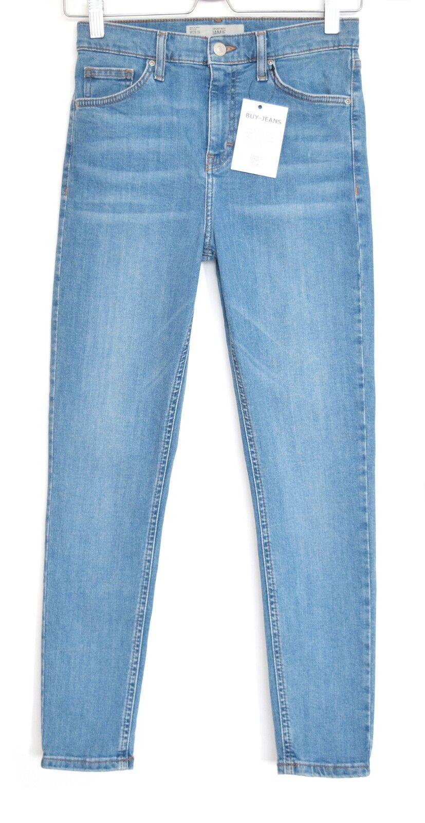 Topshop SUPER SKINNY JAMIE High Rise Medium bluee Stretch Jeans Size 6 8 W26 L32
