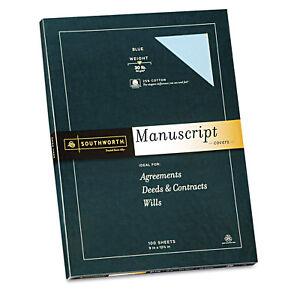 Southworth 25 Cotton Manuscript Covers Blue 30 Lbs Wove