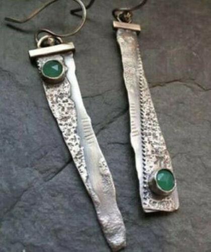 Vintage asymmetricjewelry Elegant argent 925 Long Crochet Goutte Dangle Boucles d/'oreilles